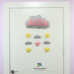 Gri Pembe Bulut Bebek Odası Kapı Süsü