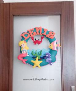 Deniz mercan kız bebek kapı süsü