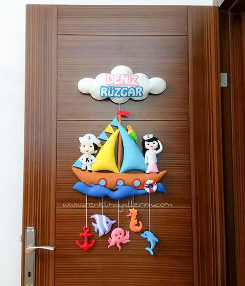Deniz Rüzgar Kardeş Denizci Bebek Kapı Süsü Tam Boy