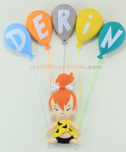 Derin isimli çakıl kız bebek balonlu kapı süsü