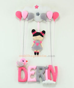 Derin isimli Pembe Gri Balonlu Kız Bebek Kapı Süsü