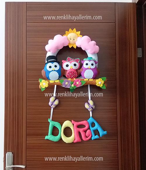 Dora isimli baykuş kız bebek kapı süsü