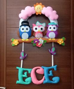 Ece isimli Baykuş Ailesi Kız Bebek Simit Kapı Süsü - Ece isimli kız bebek baykuş kapı süsü