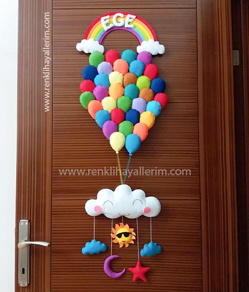 Ege isimli Balonlar Erkek Bebek Kapı Süsü