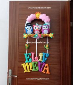 Elif meva isimli baykuş kız kapı süsü