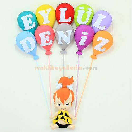 Eylül Deniz isimli çakıl kız bebek balonlu kapı süsü