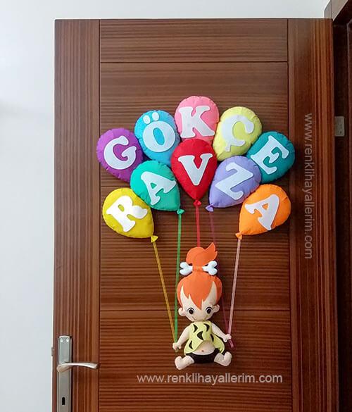 Gökçe Ravza isimli kız bebek kapı süsü - Ravza isimli bebek kapı süsü modelleri