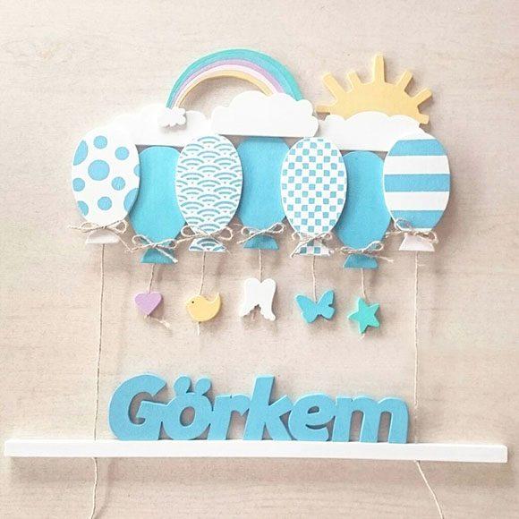 Görkem isimli ahşap balonlu sarkıt kapı süsü - Mavi Balonlu Ahşap Bebek Kapı Süsü