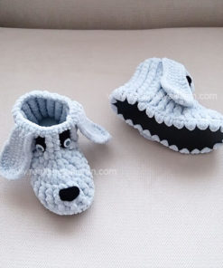 Gri Örgü Panduf Bebek Çocuk Örgü Panduf Ev Botu Ev Ayakkabısı