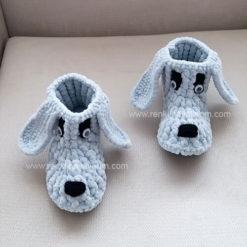 Gri Bebek Çocuk Örgü Panduf Ev Botu Ev Ayakkabısı