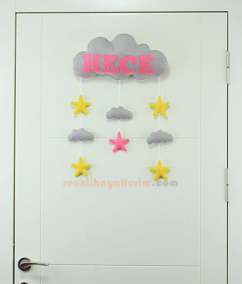 Hece isimli Gri Pembe bulut bebek kapı süsü