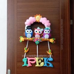 ipek isimli baykuş kız bebek kapı süsü - ipek isimli kız bebek baykuş kapı süsü