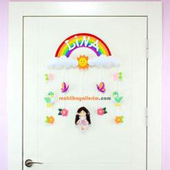 Lina isimli Gökkuşağı Kız Bebek Odası Kapı Süsü Kapı