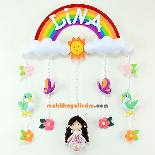 Lina isimli Gökkuşağı Kız Kapı Süsü Bebek Odası