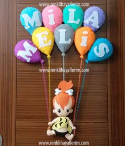Mila Melis isimli çakıl kız bebek kapı süsü