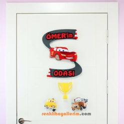 Ömer isimli Şimşek Arabalar Bebek Odası Kapı Süsü