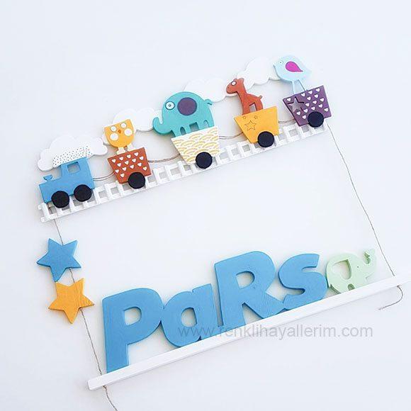 Pars Mavi Tren Ahşap Bebek Kapı Süsü - Pars isimli bebek kapı süsü modelleri