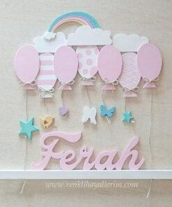 Ferah isimli ahşap balonlu sarkıt kapı süsü