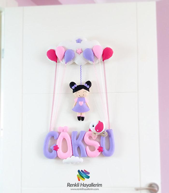 Pembe Mor Kız Bebek Kapı Süsü - Göksu
