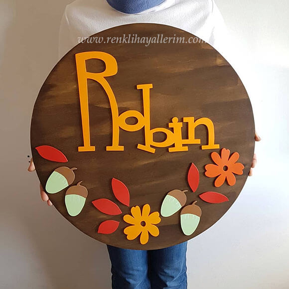 Robin Pano Ahşap Bebek Kapı Süsü