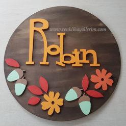 Robin Pano Ahşap Bebek Kapı Süsü - Çiçekli Pano Ahşap Bebek Kapı Süsü
