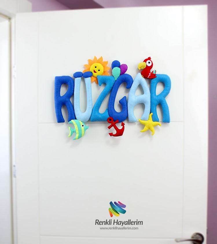 Rüzgar isimli isimlik bebek odası kapı süsü