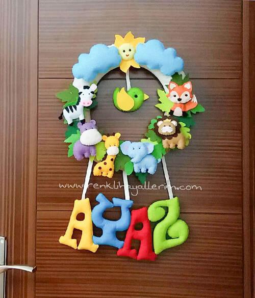 Ayaz isimli Safari Bebek Kapı Süsü - Ayaz isimli safari erkek bebek kapı süsü