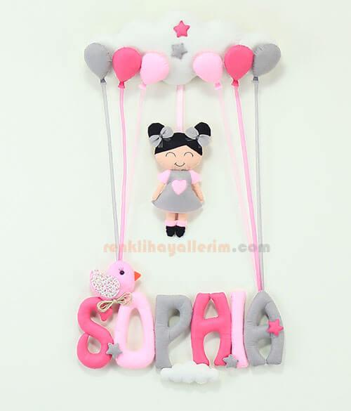 Sophia isimli Pembe Gri Balonlu Kız Bebek Kapı Süsü