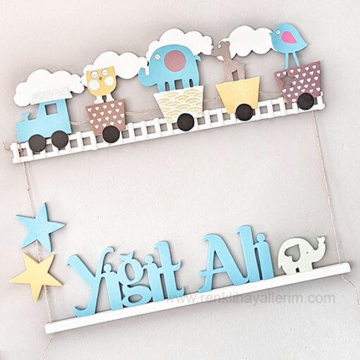 Yiğit Ali Mavi Tren Ahşap Bebek Kapı Süsü