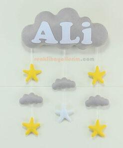 Gri Beyaz Bulut Kapı Süsü - Ali isimli
