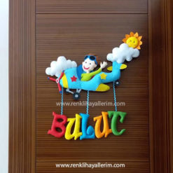 Bulut isimli uçak keçe bebek kapı süsü modeli