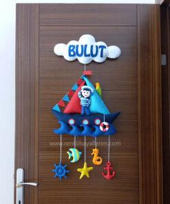 Bulut isimli denizci keçe bebek kapı süsü modeli