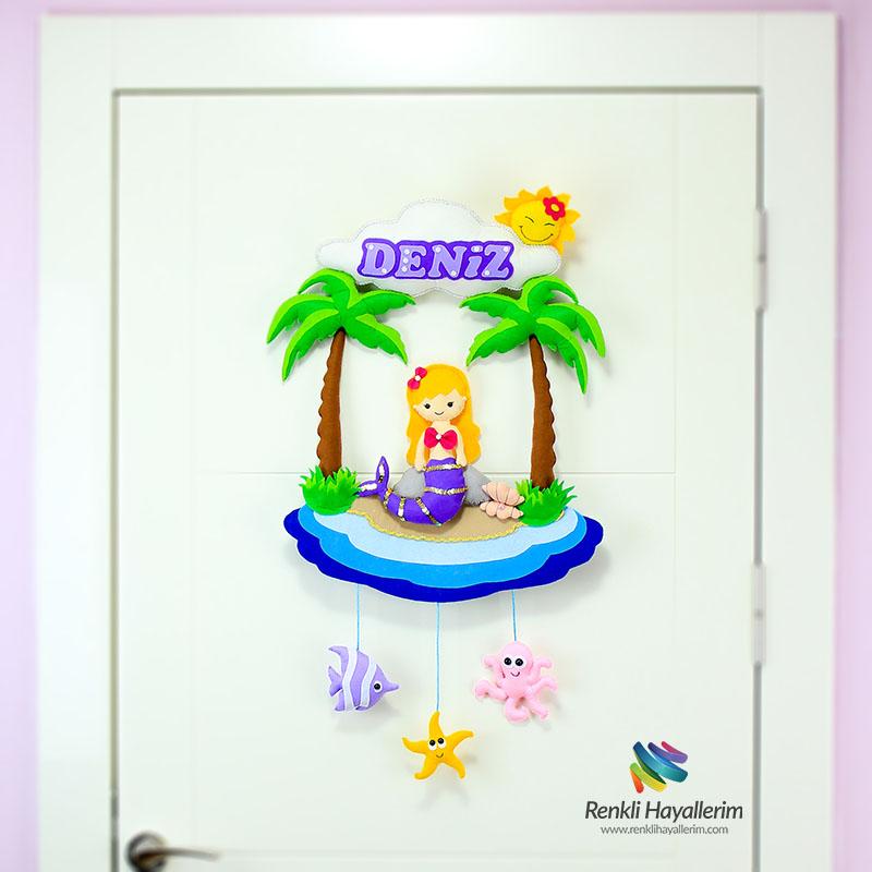 Deniz Kızı Bebek Odası Kapı Süsü