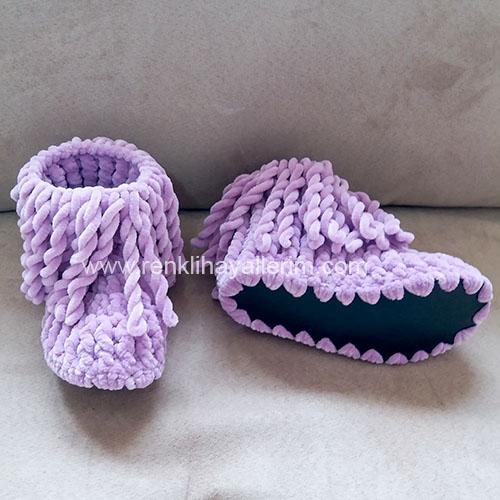 Mor Örgü Panduf Bebek Çocuk Örgü Panduf Ev Botu Ev Ayakkabısı