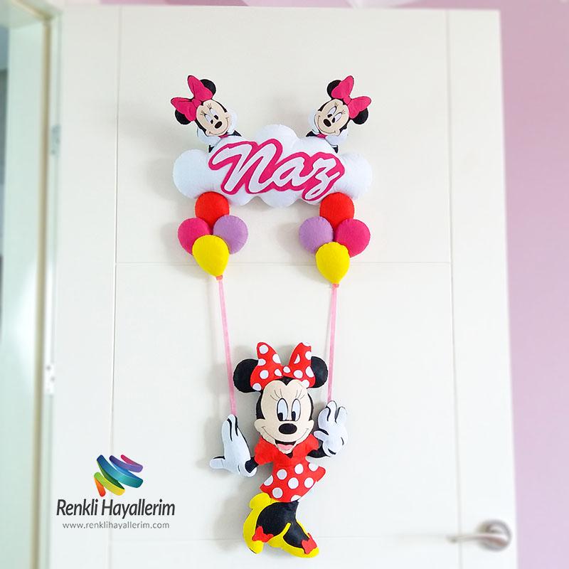 Süslü Kız Minnie Mouse Kız Bebek Kapı Süsü