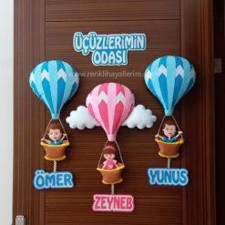 Ömer Zeynep Yunus Üçüz Bebek Kapı Süsü Modeli