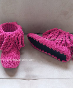 Pembe Örgü Panduf Bebek Çocuk Örgü Panduf Ev Botu Ev Ayakkabısı