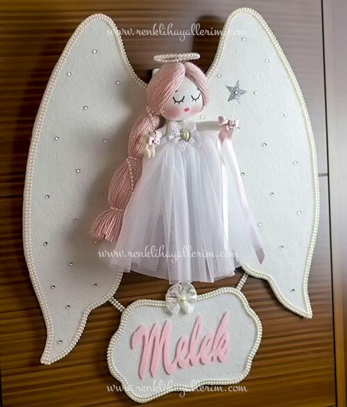 Mimoza melek kız bebek kapı süsü 7