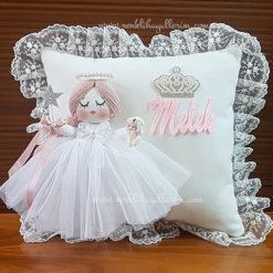 Mimoza melek kız bebek takı ve süs yastığı 1