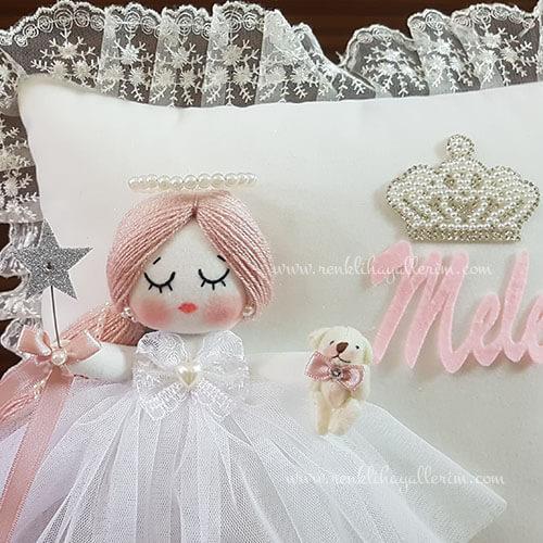 Mimoza melek kız bebek takı ve süs yastığı 2