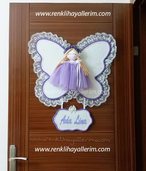 Ada Lina isimli melek kanatlı kız bebek kapı süsü