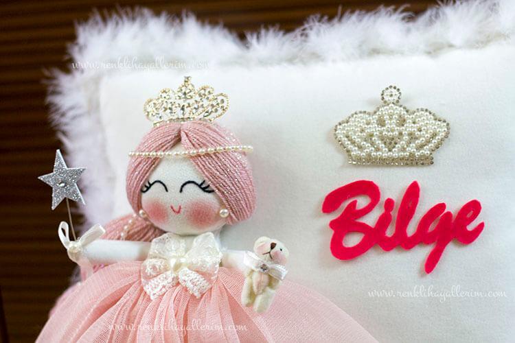 Akasya melek kız bebek takı ve süs yastığı 3