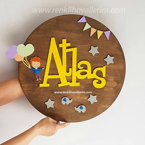 Atlas isimli Balonlu Çocuk Pano Ahşap Bebek Kapı Süsü