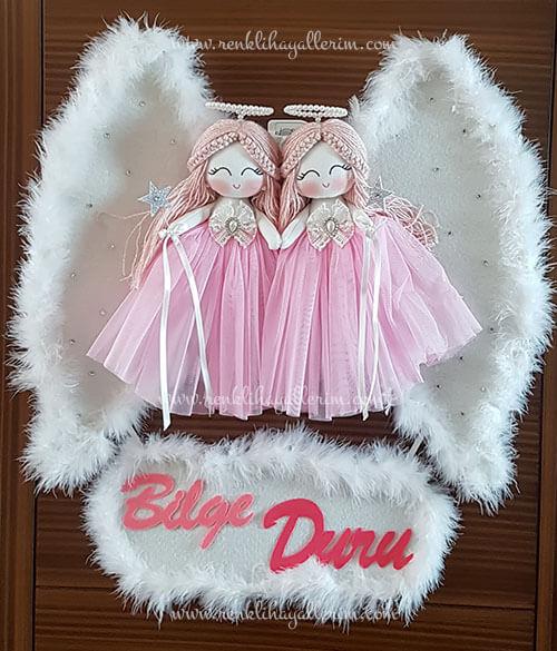 Begonya ikili melek bebek kapı süsü 1