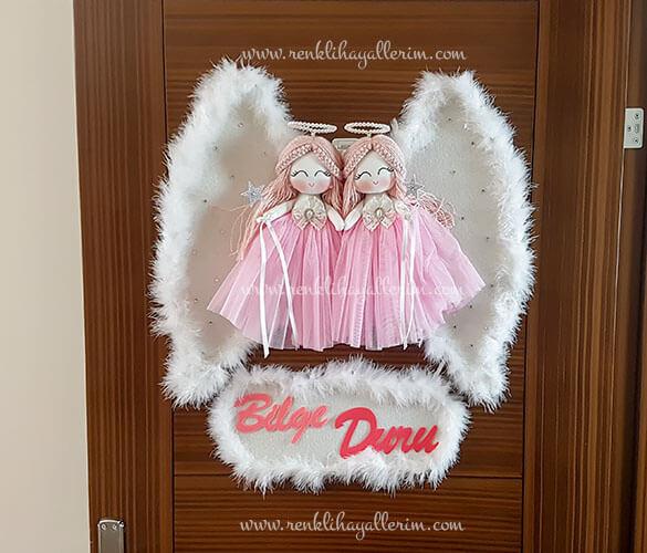 Begonya ikili melek bebek kapı süsü 3
