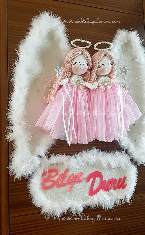 Begonya ikili melek bebek kapı süsü 4