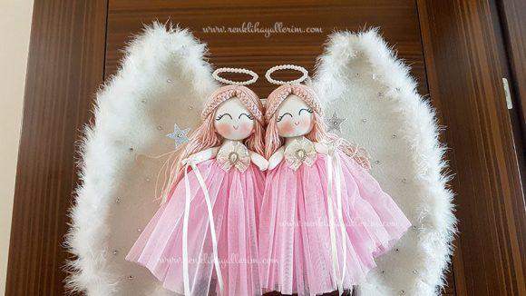 Begonya ikili melek bebek kapı süsü 5