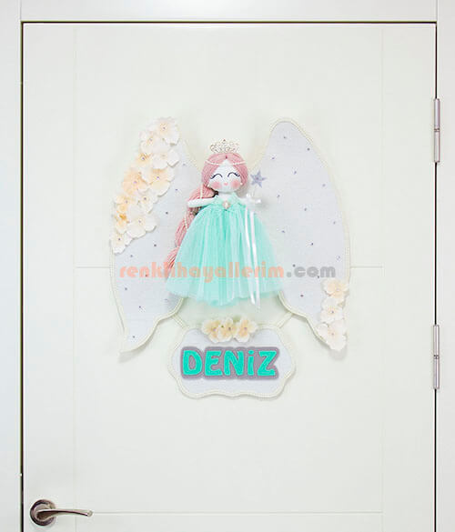 Deniz Melek Kanatlı kız bebek kapı süsü papatya