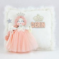 Derin isimli akasya melek kız bebek takı ve süs yastığı