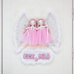 Ece Mila ikiz melek kız bebek kapı süsü
